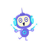 Happy Little Robot With Two Antennas