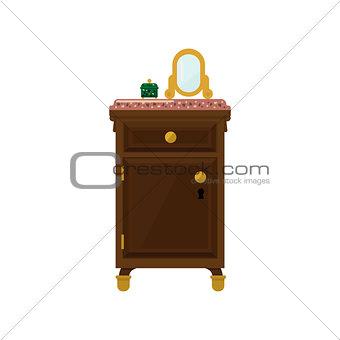Antique Wooden Dresser And Mirror