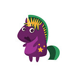 Purple Unicorn With Green Crest