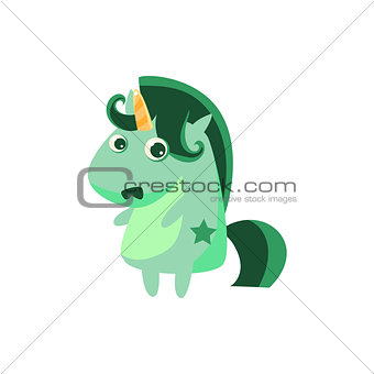 Pale Unicorn With Green Crest