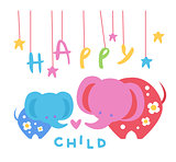 Happy Child Backdrop Illustration With Elephants