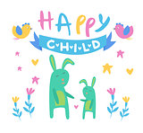 Happy Child Backdrop Illustration With Rabbits