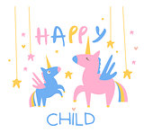 Happy Child Backdrop Illustration With Unicorns