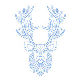 Deer Head Stylised Doodle Zen Coloring Book Page