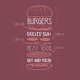 Burger Ingredients Hand Drawn Advertisement Sign
