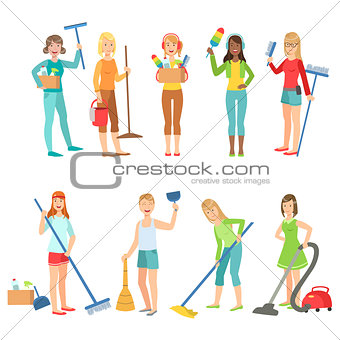 Adult People Cleaning Up Indoors