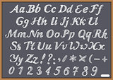 English alphabet letter Latin on chalk Blackboard