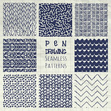 Abstract Pen Drawing Seamless Background Patterns Set