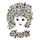 Female face with floral hairstyle for your design