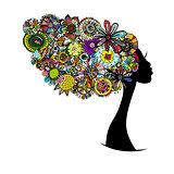 Female floral portrait for your design