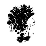 Female portrait, black silhouette for your design