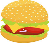 hamburger or cheeseburger vector icon isolated on white