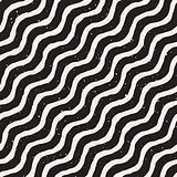 Vector Seamless Hand Drawn Diagonal Wavy Lines Grunge Pattern