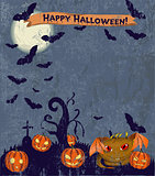Halloween poster with cute monster.
