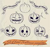 Halloween pumpkins set.