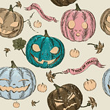 Halloween seamless background with pumpkin.
