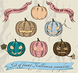 Six isolated Halloween pumpkins set.