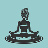 Vector Symbol Girl Yoga lotus pose