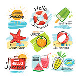 Set of hand drawn summer signs and banners.Graphic for summer ho