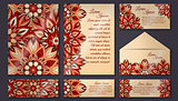 Invitation card collection, delicate floral pattern. Vintage decorative elements. Hand drawn background.