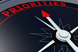 Black compass with priorities word on it