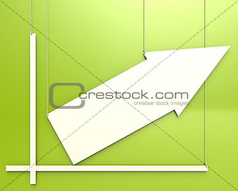 Blank chart hang on green background
