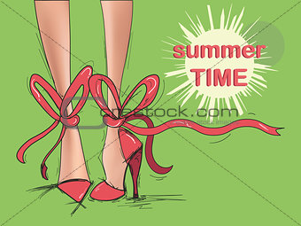 Beautiful woman legs in red shoes vector