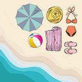 Summer sketch objects on the beach