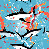 Graphic pattern of swimming sharks