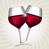 Full Glass of Red Wine on Swirl Background Vector Illustration