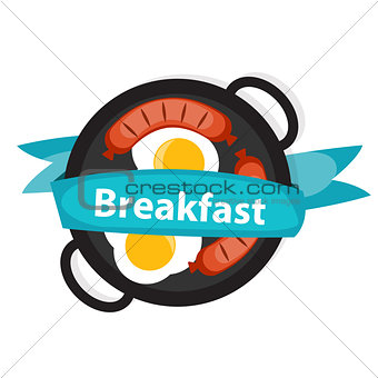 Breakfast Scrambled Eggs with Sausage Icon in Modern Flat Style