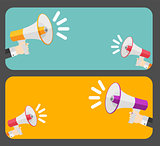 Hand with Megaphone and Speech Bubble Vector Illustration