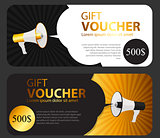 Gift Voucher Template For Your Business.  Megaphone and Speech B