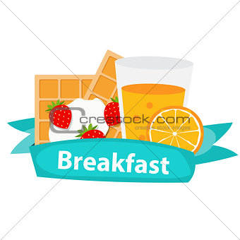 Breakfast Cereal Oatmeal and Orange Juice, Icon in Modern Flat