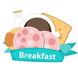 Best Breakfast Icon Background in Modern Flat Style Vector Illus