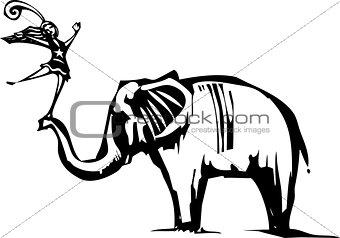 Circus elephant and Acrobat