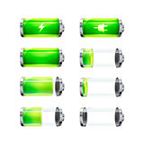 Set of glossy battery icons with different charge level and power signs on white