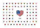 Heart shaped glossy icons flags of world sovereign states