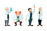 Four cute cartoon scientists characters isolated on white