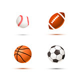Set of realistic sport balls for soccer, basketball, baseball and rugby on white