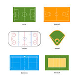 Sport fields marking for soccer, basketball, volleyball, baseball, hockey and badminton on white