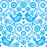 Folk art seamless blue pattern with flowers and birds