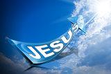 Jesus - Blue Arrow on Blue Sky with Clouds