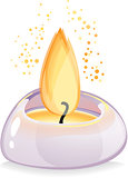 Tealight candle over white background