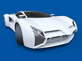 Conceptual high-speed white sports car. Blue uniform background. Glare and softer shadows. 3d rendering.
