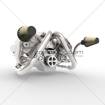 Brilliant large automotive V8 engine with a turbocharger. 3d rendering.