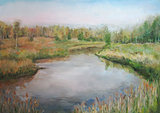 Picture oil paints on a canvas: spring landscape