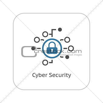 Cyber Security Icon. Flat Design.
