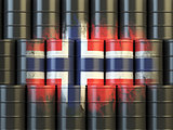 Oil fuel of Norway energy concept. Norwegian flag painted on oil