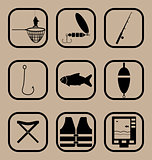 Fishing simple icons set
